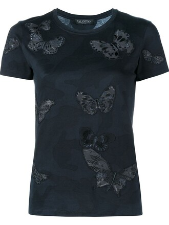 t-shirt shirt embroidered butterfly black top
