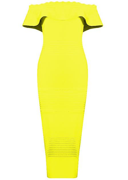 Bardot Ruffle Midi Bandage Dress Yellow