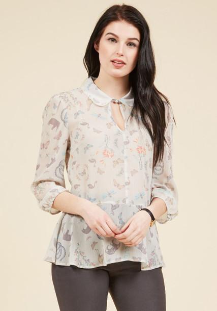 MCT1176 blouse sheer blouse style sheer animal lace print animal print white top