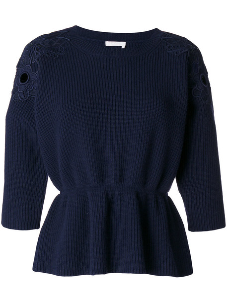 sweater women lace cotton blue