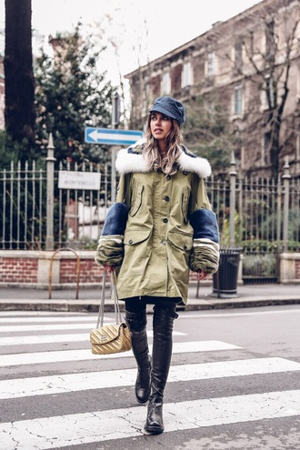 coat hat black boots boots army green oversized coat oversized parka military style fisherman cap streetstyle bag