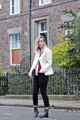 jacket tumblr fuzzy jacket white jacket denim jeans black jeans cropped jeans boots black boots ankle boots bag crossbody bag