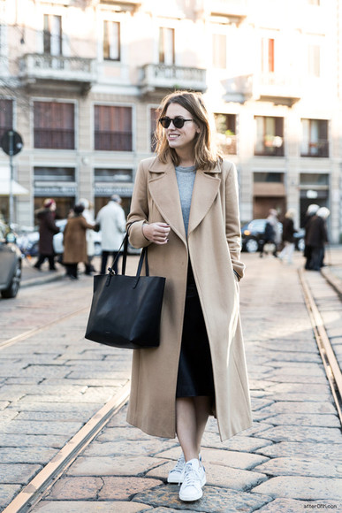 after drk coat sweater sunglasses shoes bag skirt