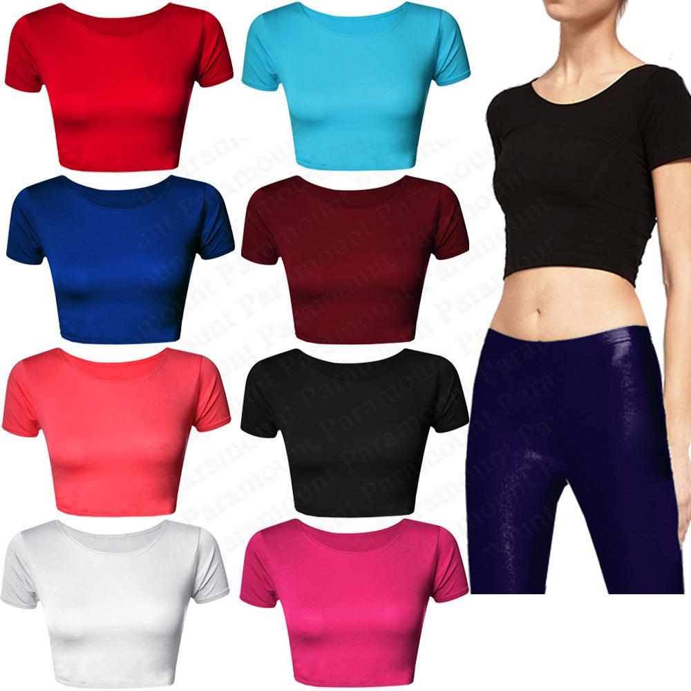 Plain Short Sleeve Crop Top Mini Stretch Casual T-Shirt Bra Tee Vest Womens Size | eBay