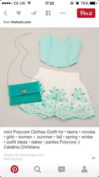skirt mini skirt skater skirt white white skirt blue skirt mint floral skirt floral