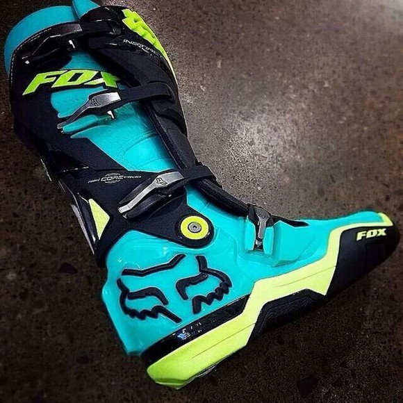 shoes boots blue boots motorcycle boots moto motorcycle motorbike motoboots colorful where did u get that where to get it ? fashion biker boots biker boot biker shoes mx fox racing green boots