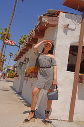 dress,tumblr,grey dress,mini dress,belted dress,spring outfits,spring dress,off the shoulder,off the shoulder dress,bag,grey bag,kayture,kristina bazan,blogger