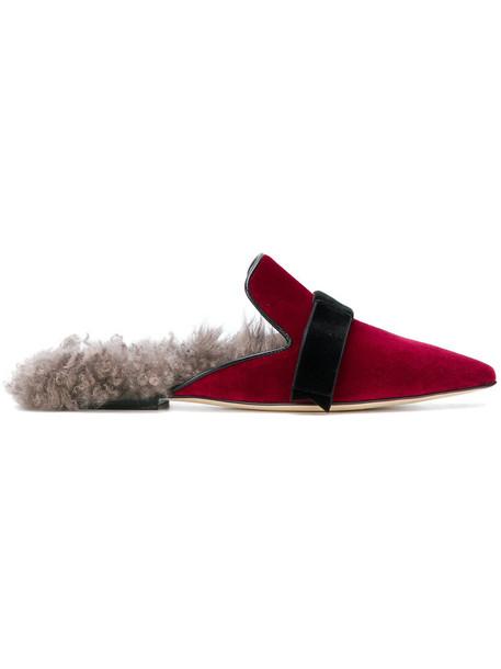 Gianna Meliani women slippers leather velvet red shoes