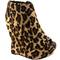 Womens leopard print extra high wedge platform