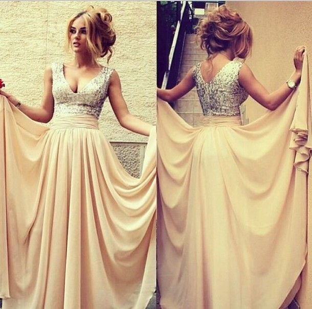 Dress: cream, champagne prom dress, champagne dress, long prom ...