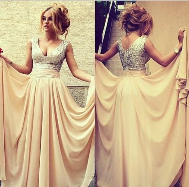 cream champagne prom dress champagne dress long prom dress princess dress sequin dress prom dress prom homecoming bun