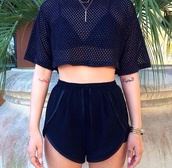 black crop top,crop tops,crop,mesh,mesh top,dope,urban,tattoo,black shorts,short,shorts,High waisted shorts,black highwaisted shorts,dolphin shorts,cropped t-shirt,athleisure,gym shorts,shirt,black mesh top,t-shirt,top,black
