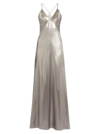 gown sleeveless silk satin silver dress