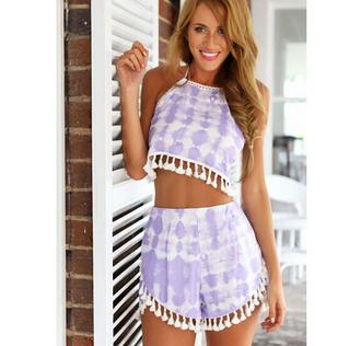 skirt skirt set two-piece purple top mini skirt chiffon