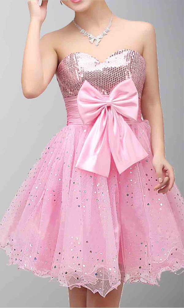 short prom dress short homecoming dress short graduation dress pink dress sequin dress short prom gown princess dress empire waist dress cute dress bow knit scarf