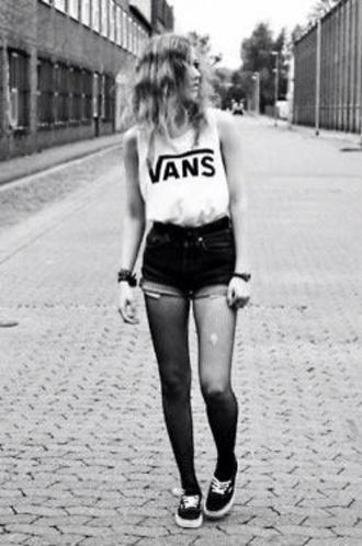 shirt vans cutoff sleeves tank top white shorts high waisted shorts vans sneakers tights nylon grunge alternative hipster