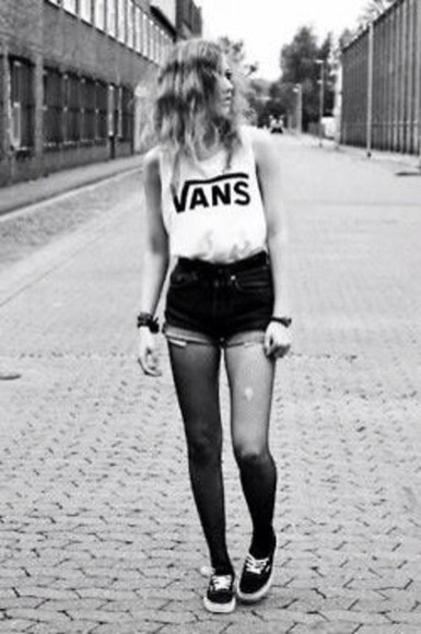vans vans sneakers white shirt cutoff sleeves tank top shorts high waisted short tights nylon grunge alternative hipster