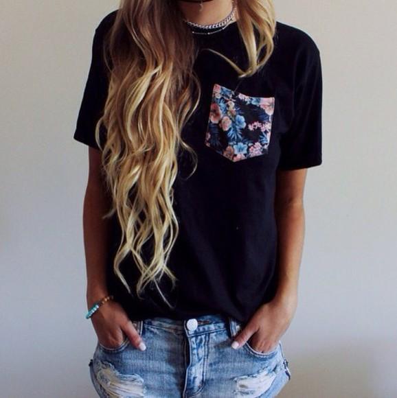 black t-shirt top black top shorts black t-shirt flowers flowered floral t shirt floral floral top denim shorts denim floral pocket t shirt