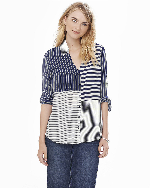 shirt striped shirt stripes blue and white