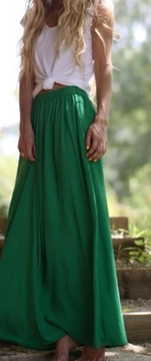 skirt maxi skirt green comfy relaxed boho bohemian bright colorful green maxi skirt