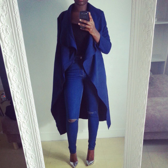 classy manteau bleu hiver winter coat