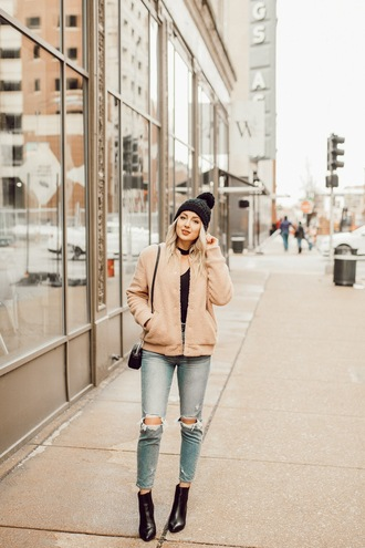 love lenore blogger jacket jeans top hat shoes winter outfits beanie ankle boots bomber jacket