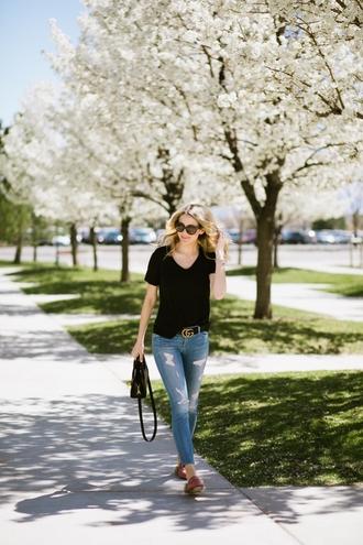 t-shirt distressed denim skinny jeans loafers fur loafers blogger blogger style satchel bag