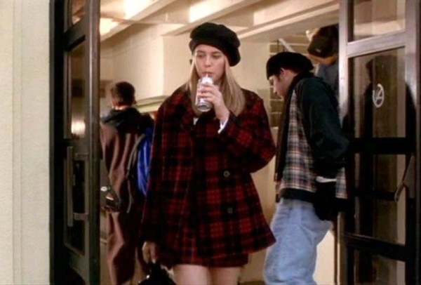 coat tartan red cher clueless alicia silverstone 90s style alternative grunge shiny checkered checkered red coat black coat clueless inspired