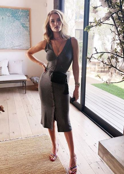 dress midi dress rosie huntington-whiteley sandals spring instagram model off-duty grey grey dress