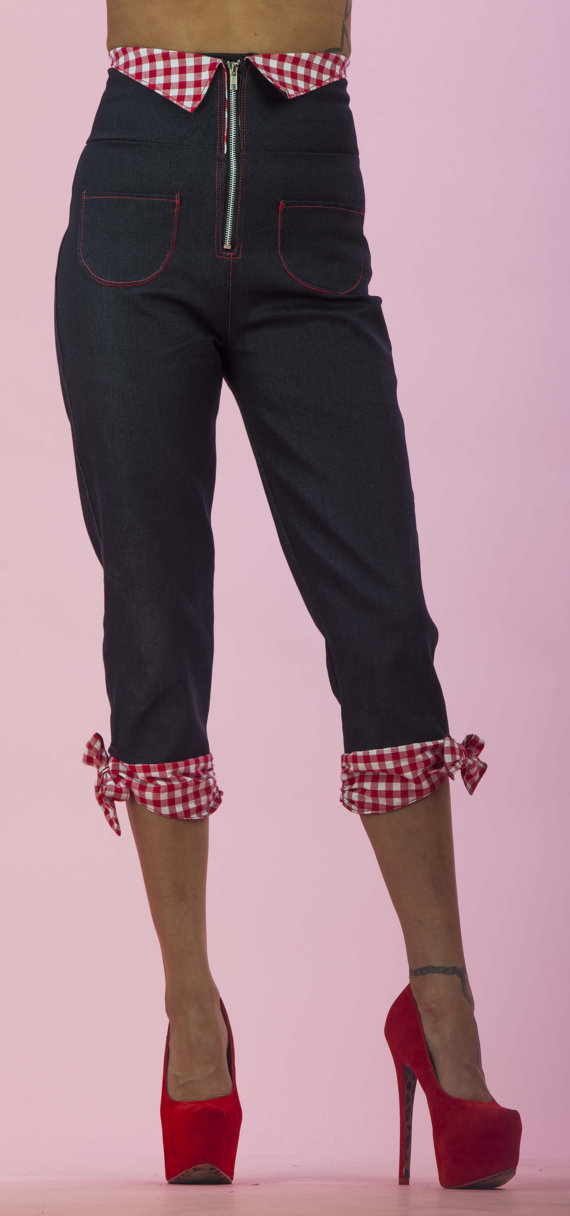 High Waisted Capri Pants Red/White Gingham Bow  by PinkyPinups