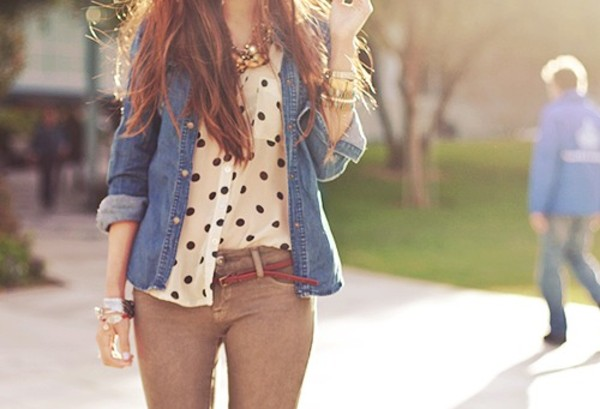 pants jewels blouse jeans shirt polka dots denim shirt khaki pants vintage girly top white top t-shirt tumblr jacket fall outfits bag where is these whole outfit polka dots brownish