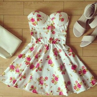 dress floral mini flowers girly cute strapless