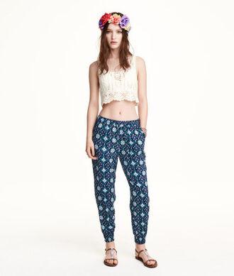 pants hipster girly harem pants blue pattern love girl flowers flower crown white crop tops belly brown indie grunge circle skirt shirt