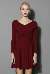 dress,wrap in elegance red wine knitted dress,chicwish,knitted dress,red