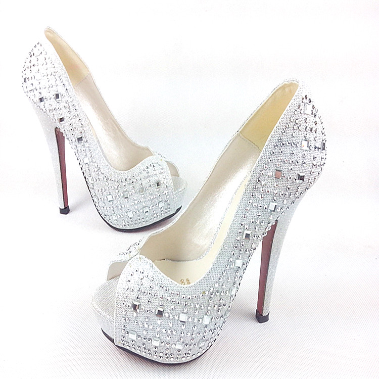 Free shipping 2014 Silver Princess  Wedding Shoes Open Toe High heeled Shoes , Women's Shoes,Womens Heels,Red Bottom-inPumps from Shoes on Aliexpress.com