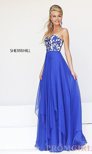 Strapless Prom Gown, Sherri Hill Long Strapless Dresses- PromGirl