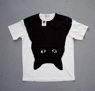 shirt t-shirt black white cats black cat
