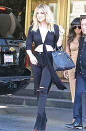 jeans,crop tops,top,tie-front top,khloe kardashian,kardashians,boots,plunge v neck,blouse
