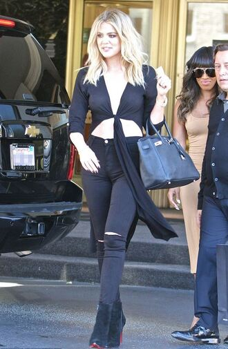 jeans crop tops top tie-front top khloe kardashian kardashians boots plunge v neck blouse