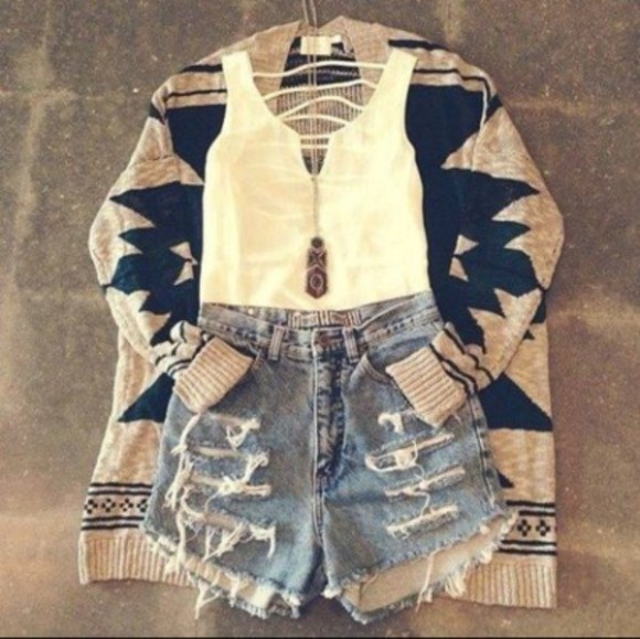 white tank top white tank tank top shorts jewels sweater denim shorts clothes cardigan ripped shorts glamour cutout back aztec sweater