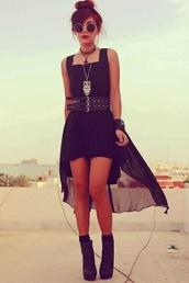 dress,black dress,festival,round sunglasses,owl,sunglasses,black,grunge,punk dress,dark,cute,chiffon dress,gold dress,indie,high-low dresses,belt,goth,gothic high-low dresses,hi low dresses
