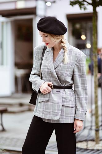 jacket belt check blazer blazer grey blazer plaid plaid blazer beret hat fall outfits pants black pants