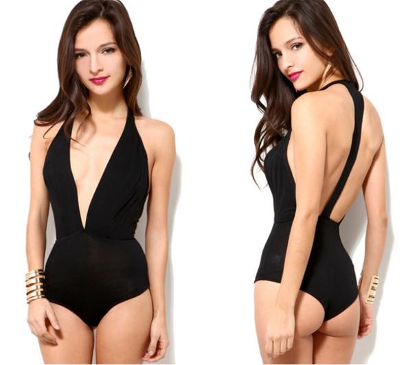 swimwear open back sexy sexy swimwear swimwear black swimwear one piece swimsuit bodysuit shirt jumpsuit top black in store deep v bodysuit