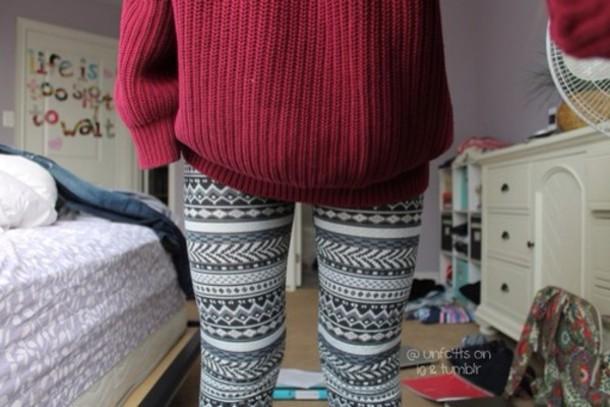ee449029c04cd6 sweater, pants, jeans, leggings, christmas leggings, aztec leggings ...