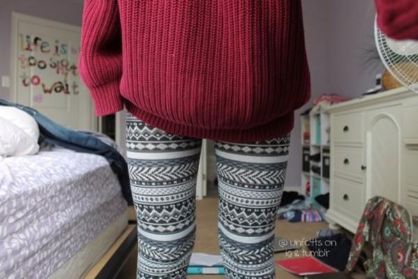 sweater pants jeans leggings christmas leggings aztec leggings aztec print leggings red sweater jumper red tribal pattern winter leggings aztec cute leggings black and white geometric patterned pants