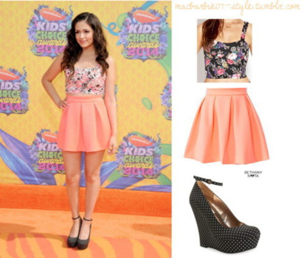 skirt bethany mota peach floral tank top
