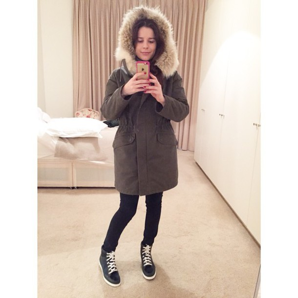 coat parka khaki fur coat fur jacket fashion style winter coat
