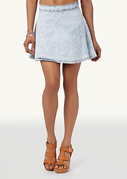 Acid Wash Denim Skater Skirt | Skater | rue21