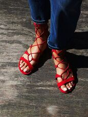 shoes,sandals,red sandals,flat sandals,Red low heel sandals,red flat sandals,jeans,blue jeans,lace up sandals