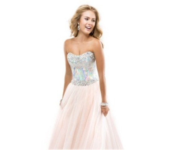 dress prom dress ball gown pretty creame sparkles silver